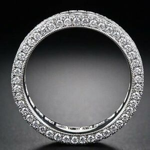 Gorgeous Wedding Band Silver Round Cut 4 mm CZ Prong Eternity Ring Size 8.5