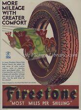 ORIG MAGAZINE ADVERT  FOR FIRESTONE TYRES GREAT DECO GRAPHICS 1932