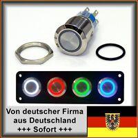 22mm Drucktaster LED weiß als Schalter Edelstahl, Wasserdicht IP67