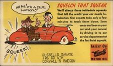 Waverly Motor Oil Squelch That Squeak Covallis Or Russells Garage Adv Postcard