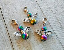 Rainbow Guardian Angel Charm With Lobster Clasp Chakra Glass and Tibetan Silver
