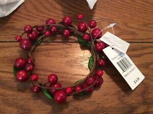 """New Yankee Candle Wreath Berry 3"""" Ring Pillar Clinger Wrap Sitter"""