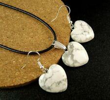White Howlite Gemstone Heart Statement Necklace & Earrings Set #2386