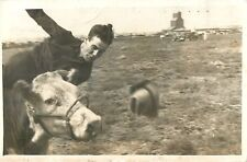 Caught At The Moment Of Being Thrown From The Steer, Faith SD RPPC 1942
