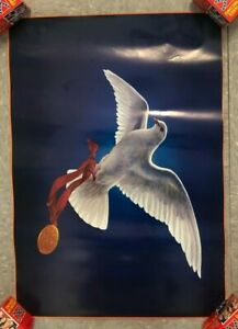"""1984 VINTAGE LOS ANGELES SUMMER OLYMPICS POSTER DOVE/PEACE/GOLD MEDAL 26X13"""""""