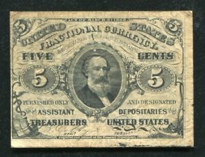 FR. 1238 5 FIVE CENTS THIRD ISSUE FRACTIONAL CURRENCY NOTE VERY FINE (C)