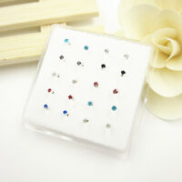 Lots 20Pcs Claw Set Multi-Color Crystal 925 Solid Silver Nose Stud Piercing Stud