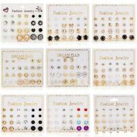 12 Pairs/set Fashion Rhinestone Crystal Pearl Ear Stud Earrings Women Jewelry