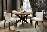 Modern Walnut Brown Finish 5pcs Dining Room Round Table & Beige Chairs Set IC55