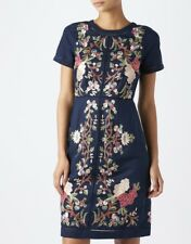Monsoon 8 10 14 1618 22 Navy Blue Linen Lilou Floral Embroidered Shift Dress UK 20 (us16/eur48)
