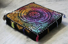 "18X4"" Square Floral Mandala Box Cushion Cover Seat Covers Room Decorative Art"