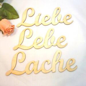 Liebe Lebe Lache Schriftzug Wanddeko schönes Wohnen Holz Spruch Lebensweisheit