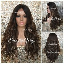 Lace Front Wig Brown #4 #27 #30 Long Wavy Curly Layers Heat Safe Ok Middle Part