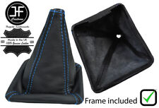 BLUE STITCH LEATHER GEAR BOOT WITH PLASTIC FRAME FOR VW GOLF MK1 RABBIT JETTA