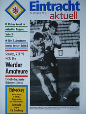 Programm 1993/94 Eintracht Braunschweig - Werder Bremen Am.
