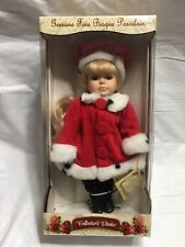 "Collectors Choice Genuine Fine Bisque Porcelain Holiday Doll 12"" Red Beret Coat"