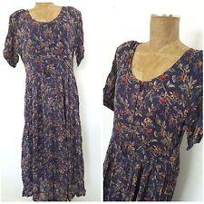Vintage 90s Broomstick Maxi Dress Size Medium Floral Rockstar Grunge Hippie BOHO