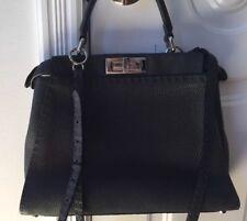 Nwt FENDI Peekaboo charcoal SELLERIA Leather satchel/crossbody Retail $4250