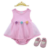 Newborn Baby Girl Infant Bodysuit wedding party dress Tutu baby shower gift