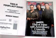 Rolling Stone Magazine November 26 2009 Bono , Mick & Bruce  Excellent Condition