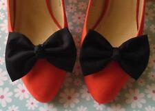 NEW PAIR PLAIN BLACK COTTON FABRIC BOW SHOE CLIPS VINTAGE 50s RETRO STYLE CUTE