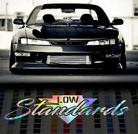 Low Standards holographic oil slick chrome windshield sticker JDM Mugen decal