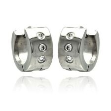Stainless Steel Huggie Hoop Earrings w/ CZ Stones