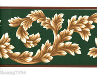 Hunter Green Gold Golden Burgundy Acanthus Leaf Leaves Scroll Wall paper Border