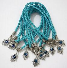 X 10 Argenté Bleu Khamsa Bracelet Mauvais Oeil Amitié Kabbale Main Fatima Lot
