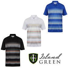 Island Green Mens Golf Polo Shirts Striped Short Sleeve Casual Shirt  IGTS1642