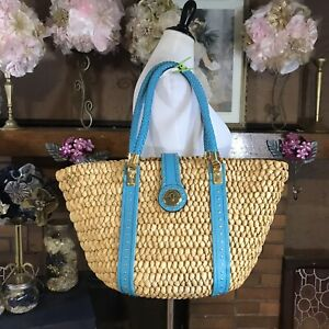 Women's MICHAEL Michael Kors Straw And Blue Leather Tote Bag
