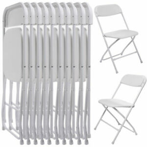 10 PC Commercial Wedding Quality Stackable Plastic Folding Chairs White