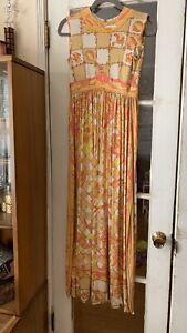 Emilio Pucci 1960S Yellow Pink Orange Bird Print Jersey Long Harem Dress