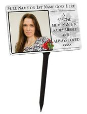 Your Photo Personalised Memorial Plaque & Stake.  family, garden, grave