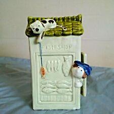 VINTAGE FUNNY CERAMIC MONEY BOX / PIGGY BANK - FISH SHOP