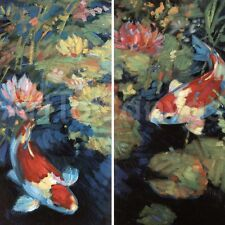 ASIAN SERENITY I (12x24) and SERENITY II (12x24) SET by LEIF OSTLUND 2PC CANVAS