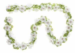Basil Blumengirlande weiß  f. Fahrradkorb Blumen Girlanden 130cm lang  ()