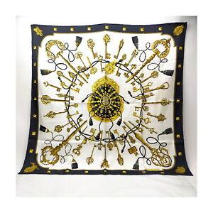Hermes scarf  Carre 90   Black Silk100% 1522665