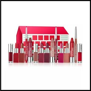 Clinique 15pc Ultimate Lip Roll Out Gift Set Lipstick Lip Gloss Balm Liner
