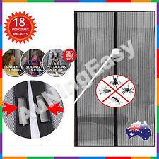 2x Black Magnetic Fly Screen Magic Magna Mosquito Bug Mesh Door Modern New 2014