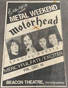 December 14,1984 MOTORHEAD concert poster ~ Mercyful Fate,Exciter ~ 25x38