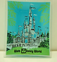 Vintage Walt Disney World Cinderella Castle Souvenir Glass Trinket Dish Ashtray