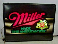 Vintage MILLER BEER LIGHTED SIGN light box sign back bar MADE THE AMERICAN WAY