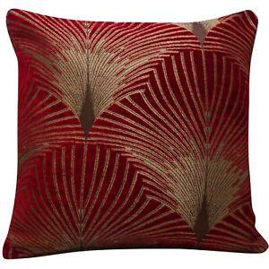 Art Deco Fan Cushion. Luxury Velvet Chenille. Gold & Red Geometric Design.
