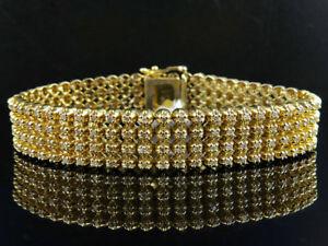 Hombres 10k Oro Amarillo 4 Fila Sólido Engarzado Auténtico Brazalete Diamante