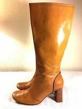 Banana Republic womens tall light brown leather zipper boots size 9.5 Nice!!!