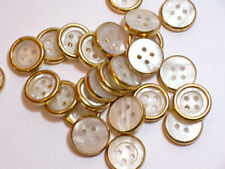 Gold and White Buttons, Metal Edge Plastic Core Buttons 3/4 inch(19 mm) x 25 pcs