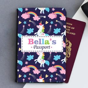 Personalised Custom Unicorn Rainbow Girls Kids Children's Passport Holder Cover