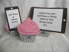 Cute Handcrafted Wooden Cupcake Cell Phone Holder for Tablet, iPad, & iPhone