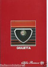 Alfa Romeo 116 Giulietta 1.6 1.8 2.0TD 1983 Original Brochure Catalog Italian
